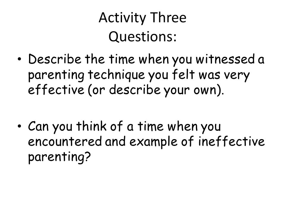 Activity Three Questions: