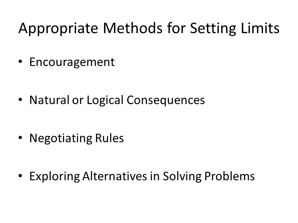 Appropriate Methods for Setting Limits