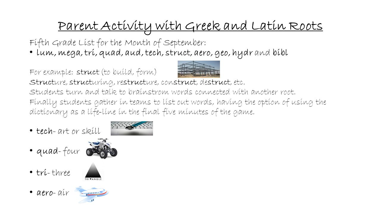 Parent Activity with Greek and Latin Roots