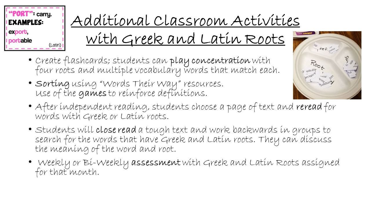 Additional Classroom Activities with Greek and Latin Roots