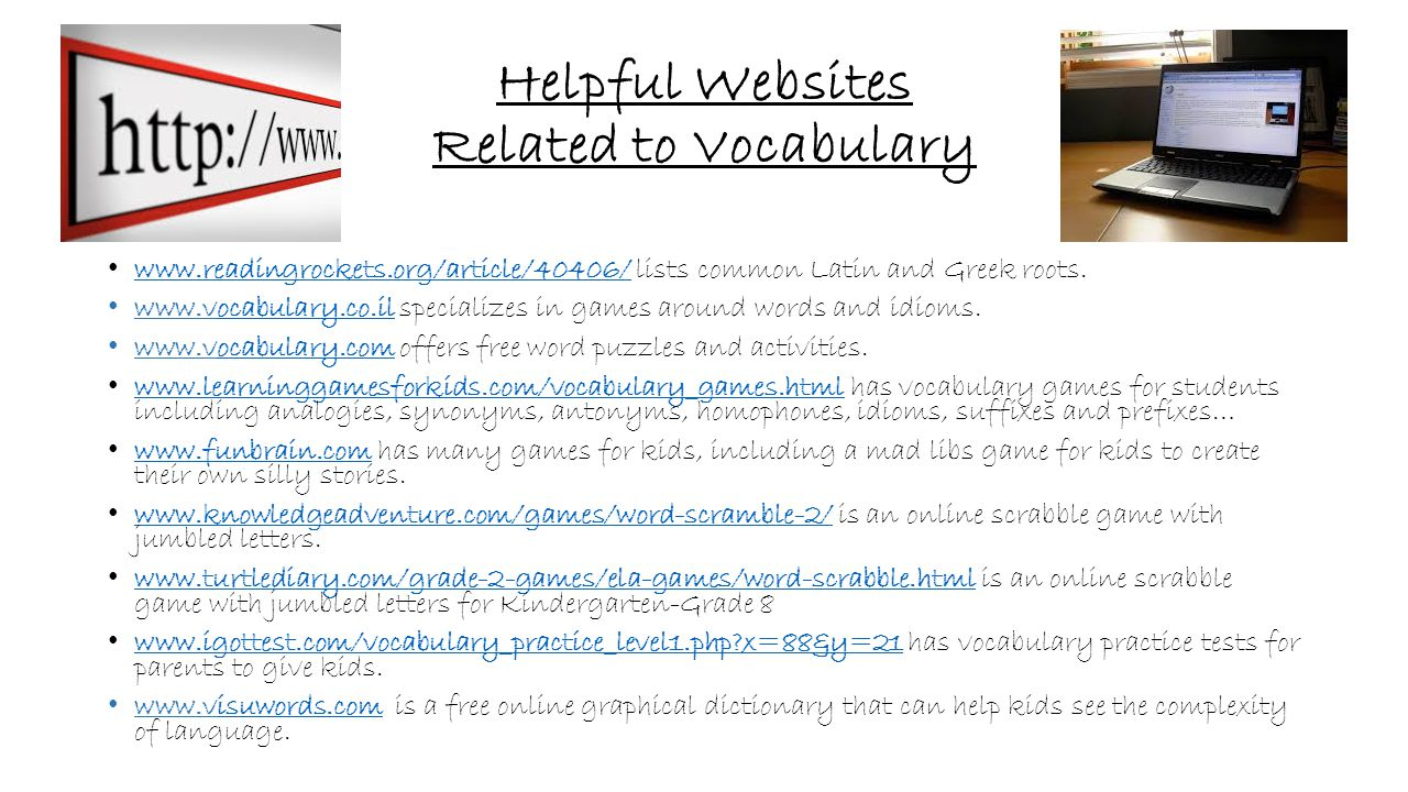 Helpful Websites Related to Vocabulary
