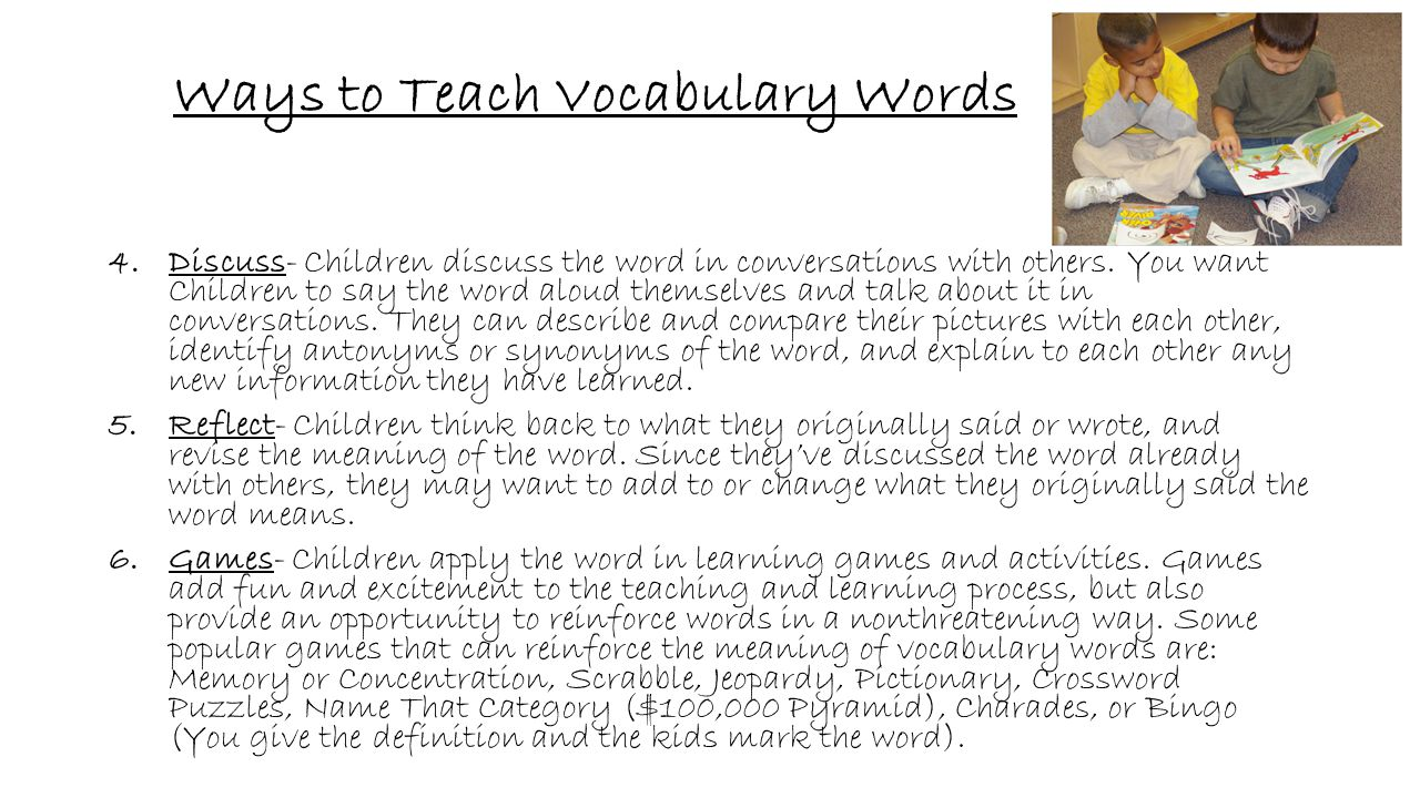 Ways to Teach Vocabulary Words