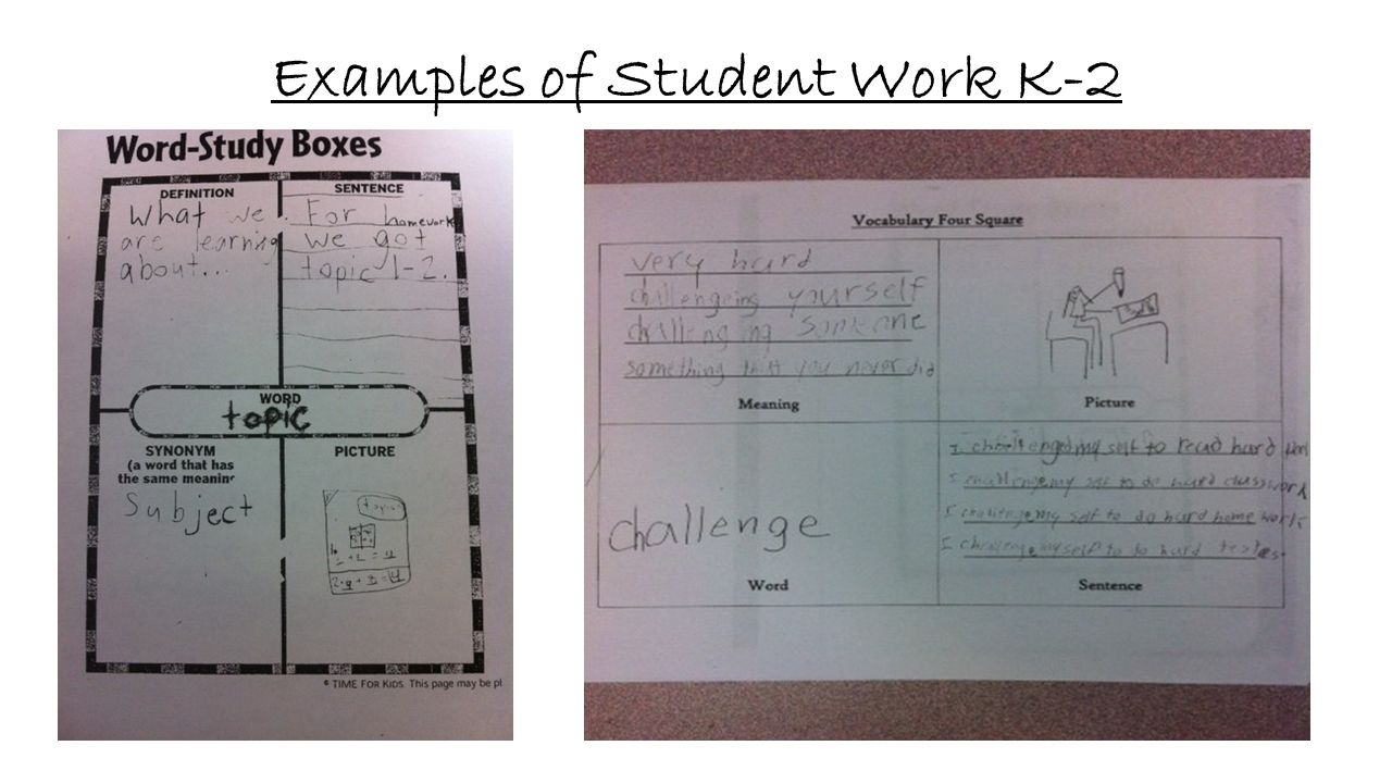 Examples of Student Work K-2