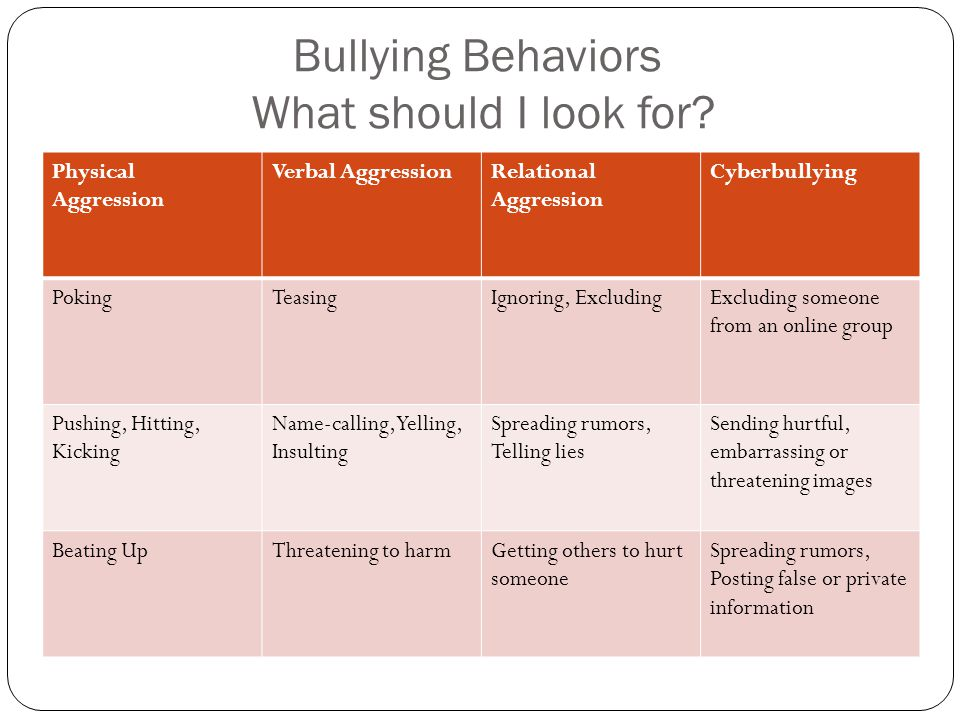 Bullying Behaviors What should I look for