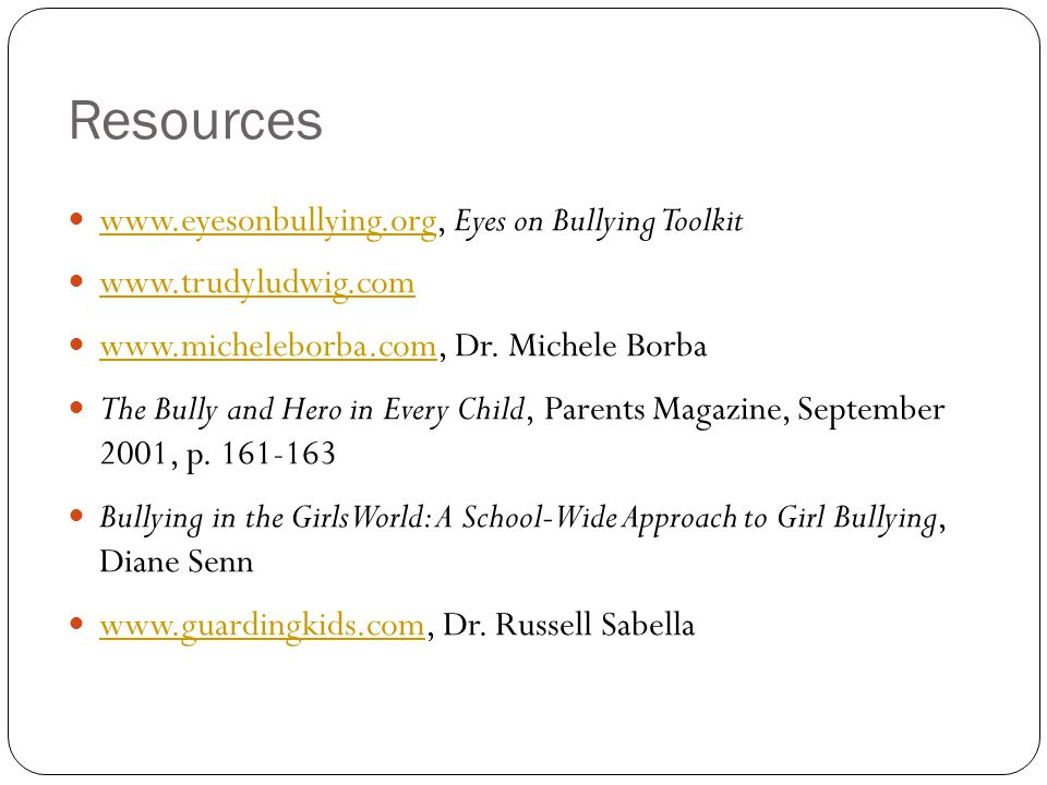 Resources www.eyesonbullying.org, Eyes on Bullying Toolkit