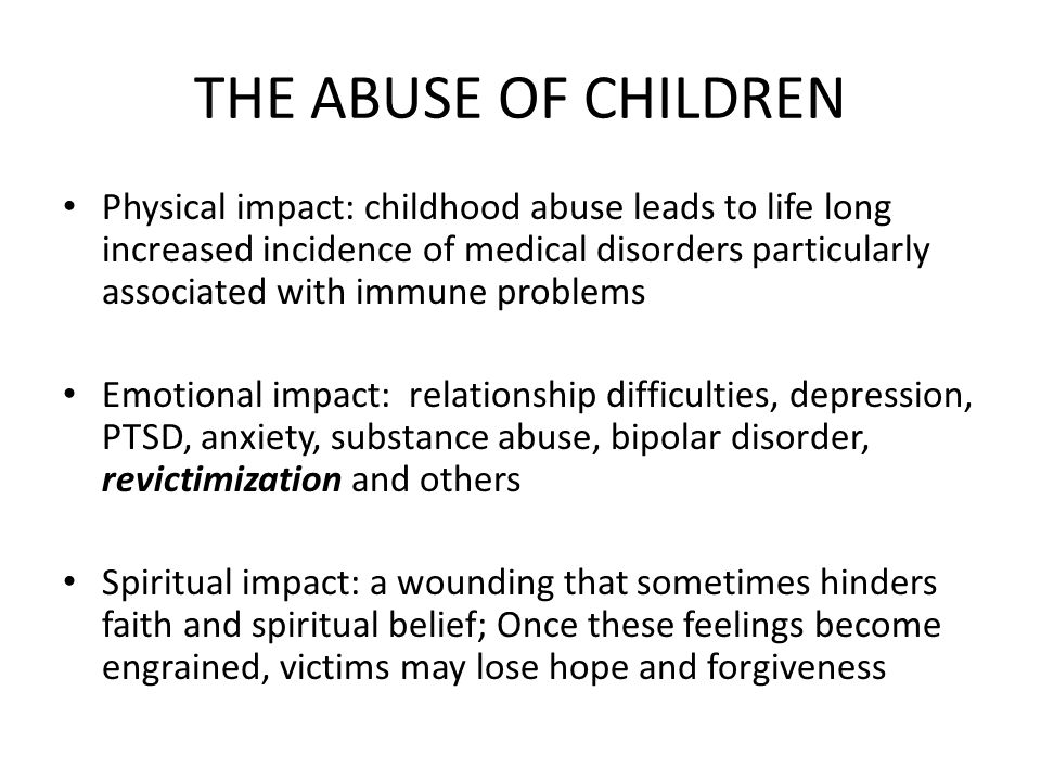 THE ABUSE OF CHILDREN