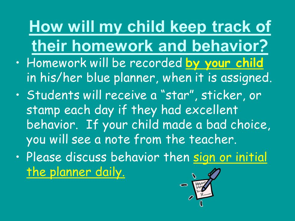 How will my child keep track of their homework and behavior