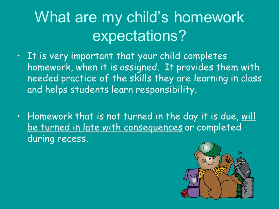 What are my child's homework expectations