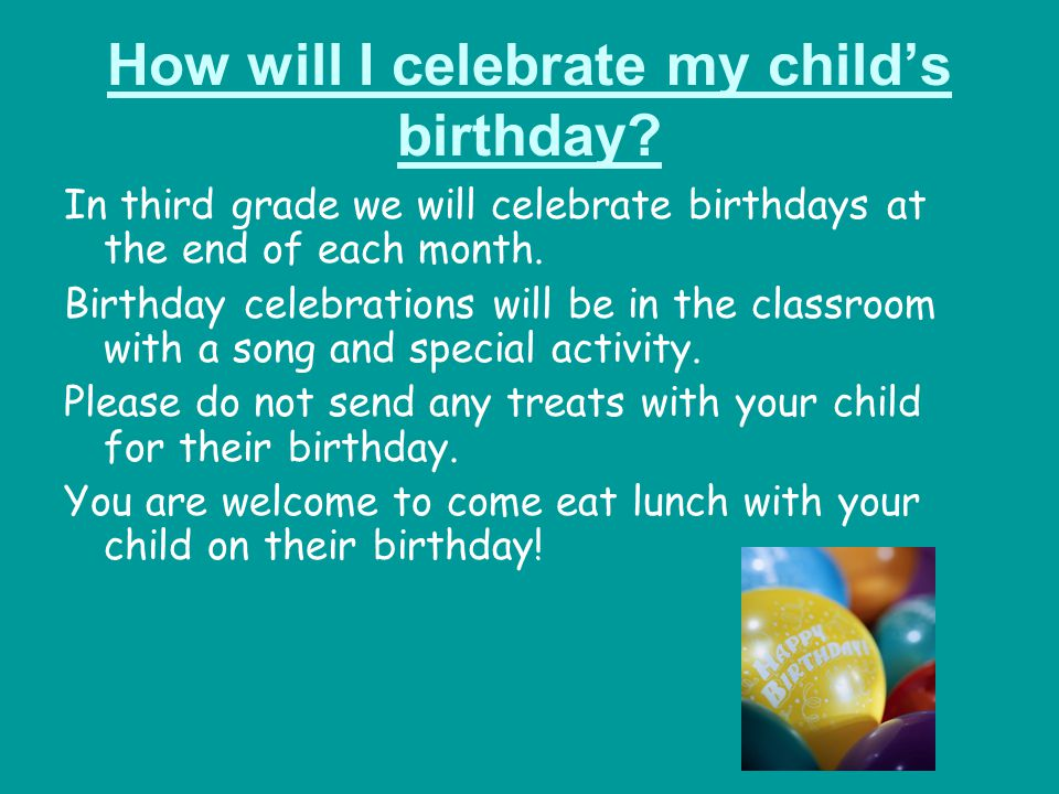 How will I celebrate my child's birthday