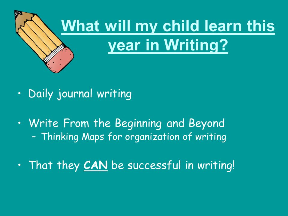 What will my child learn this year in Writing