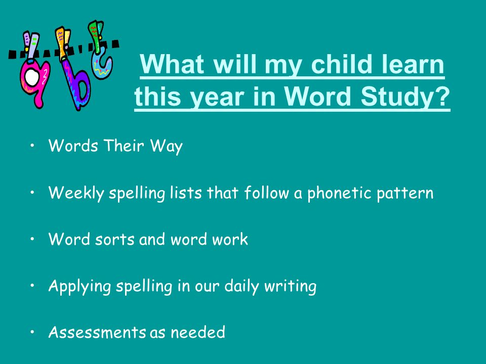 What will my child learn this year in Word Study