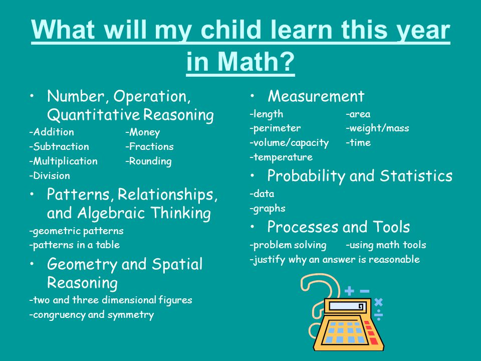 What will my child learn this year in Math