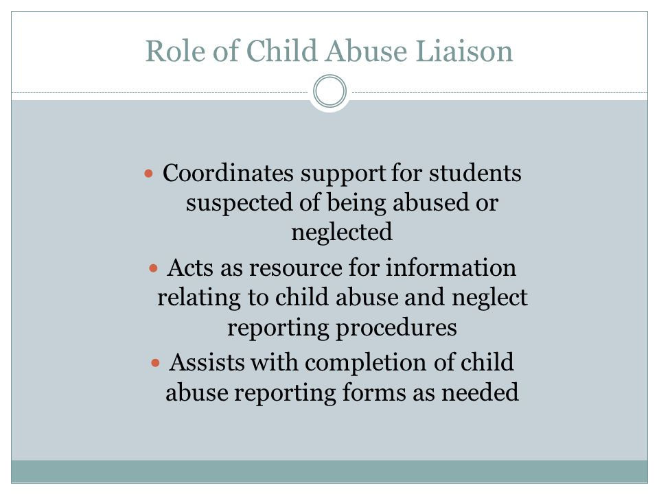 Role of Child Abuse Liaison