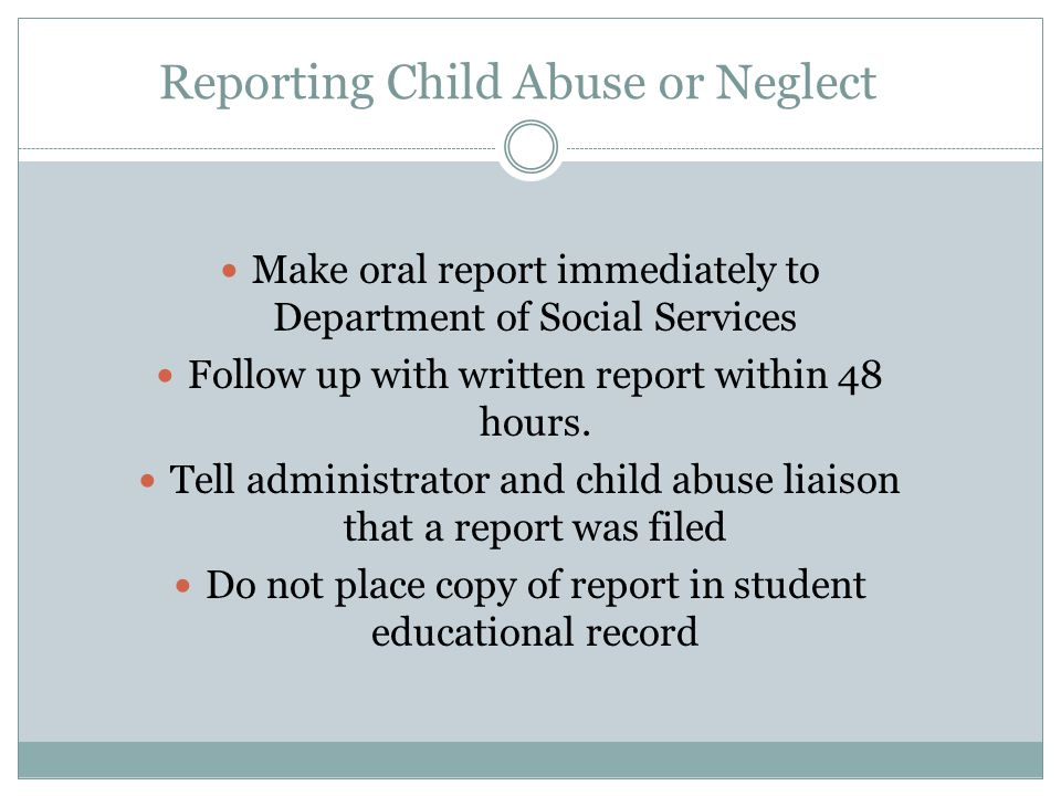 Reporting Child Abuse or Neglect