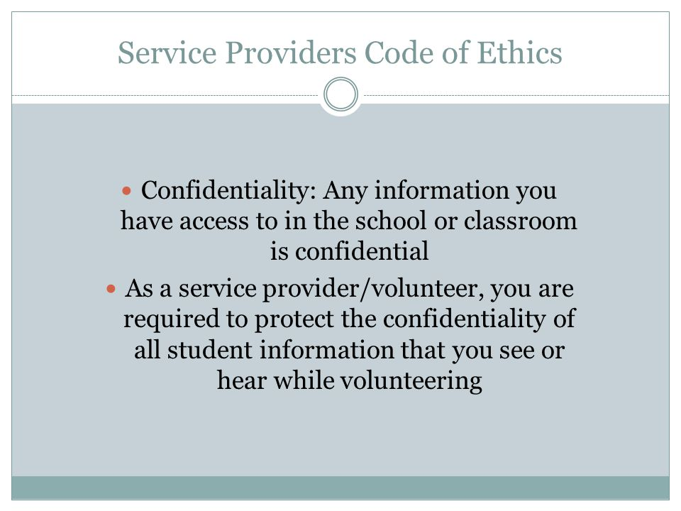 Service Providers Code of Ethics