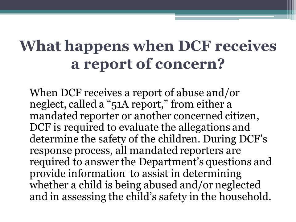 What happens when DCF receives a report of concern
