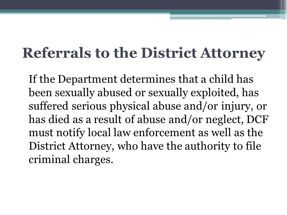Referrals to the District Attorney