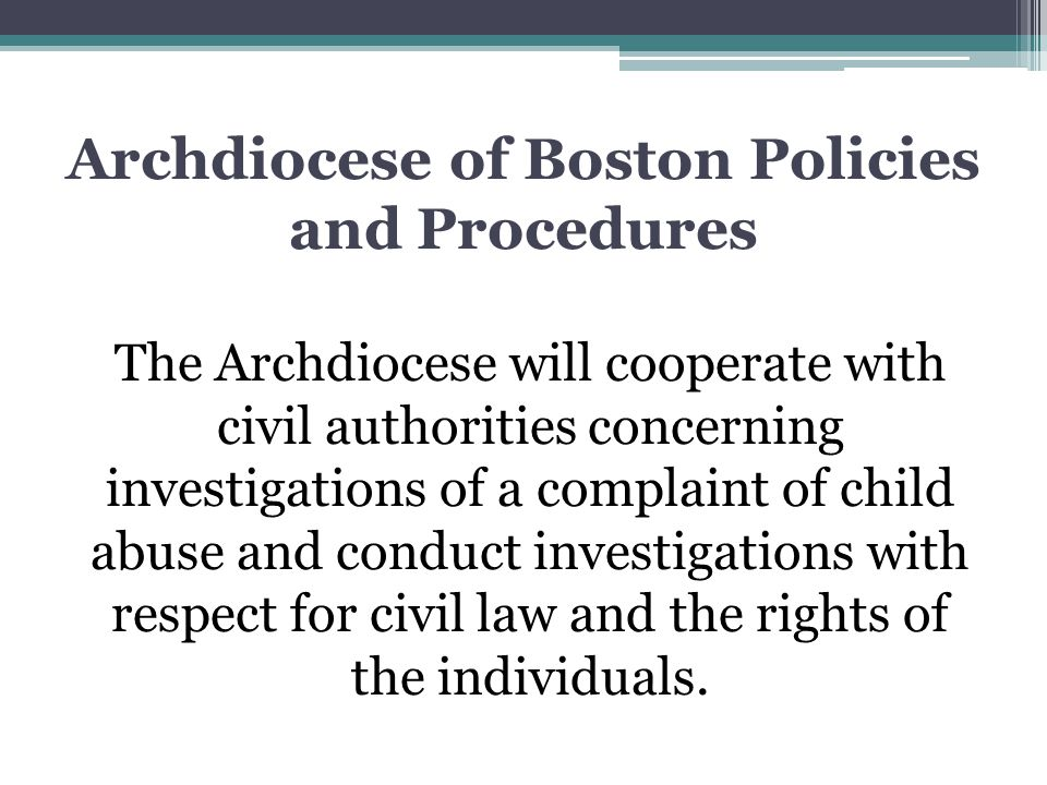 Archdiocese of Boston Policies and Procedures