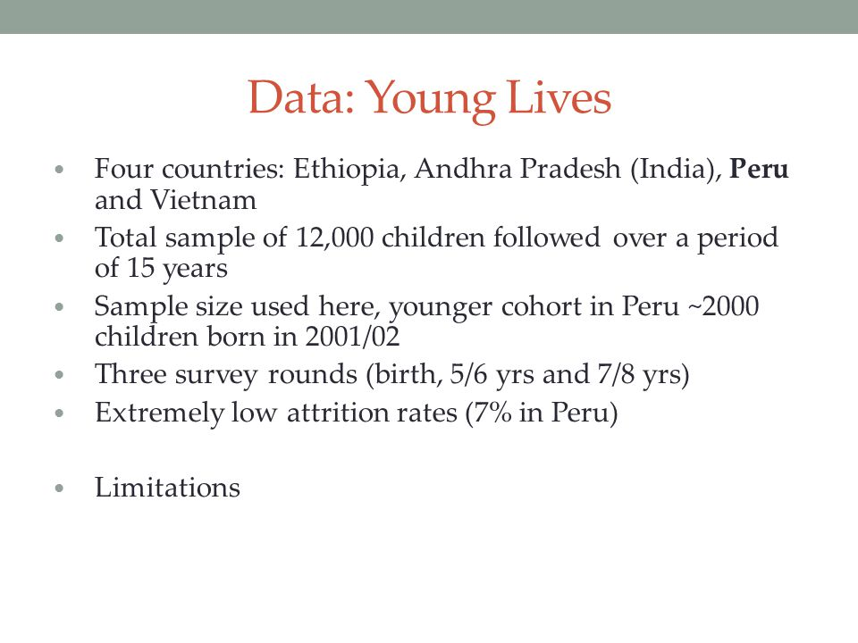 Data: Young Lives Four countries: Ethiopia, Andhra Pradesh (India), Peru and Vietnam.