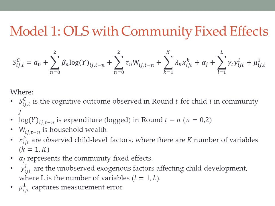 Model 1: OLS with Community Fixed Effects