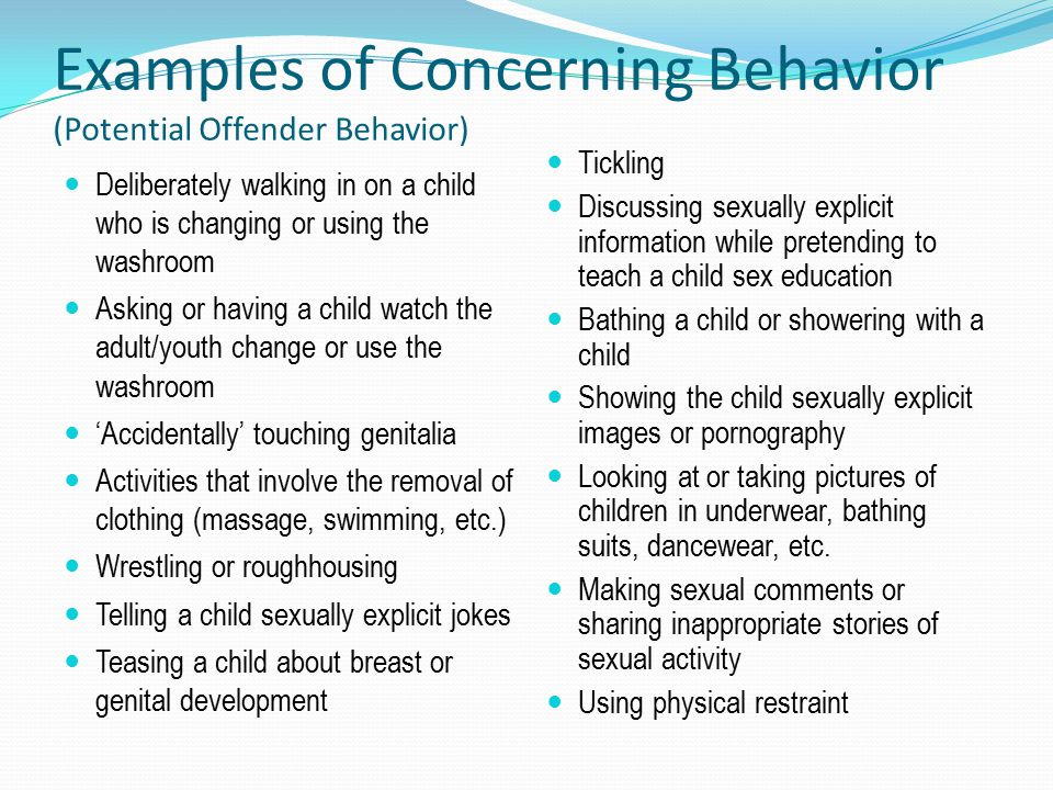 Examples of Concerning Behavior (Potential Offender Behavior)