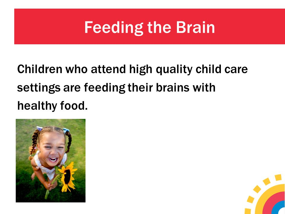 Feeding the Brain Children who attend high quality child care settings are feeding their brains with healthy food.