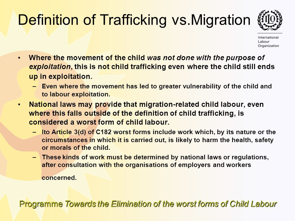 Definition of Trafficking vs.Migration