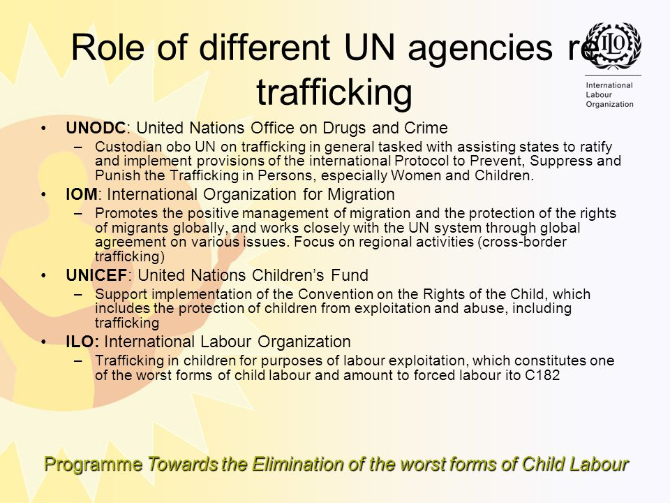 Role of different UN agencies re trafficking