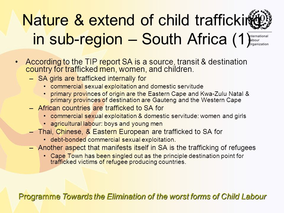Nature & extend of child trafficking in sub-region – South Africa (1)
