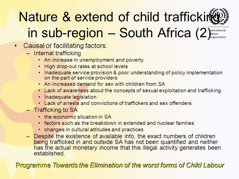 Nature & extend of child trafficking in sub-region – South Africa (2)