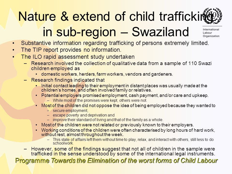 Nature & extend of child trafficking in sub-region – Swaziland