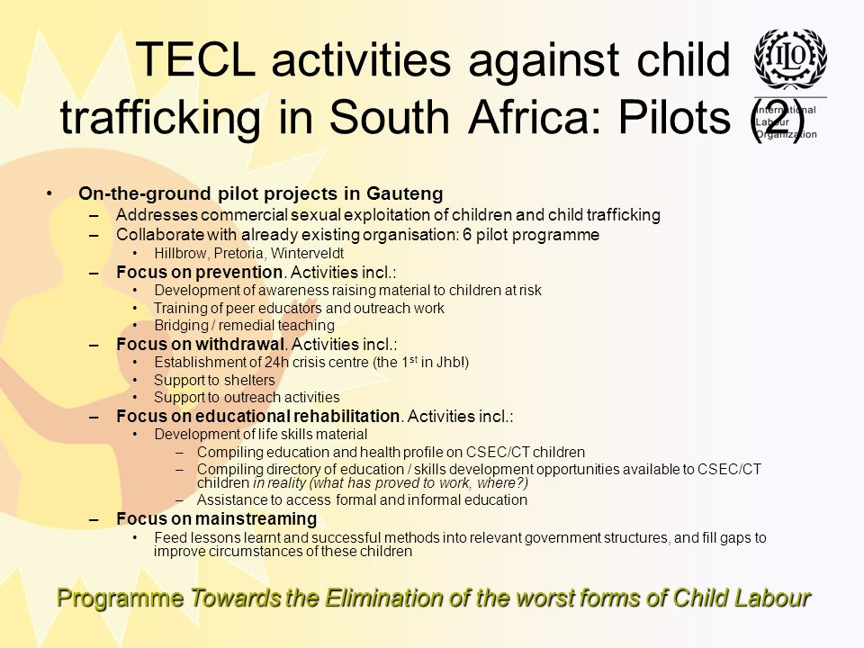 TECL activities against child trafficking in South Africa: Pilots (2)