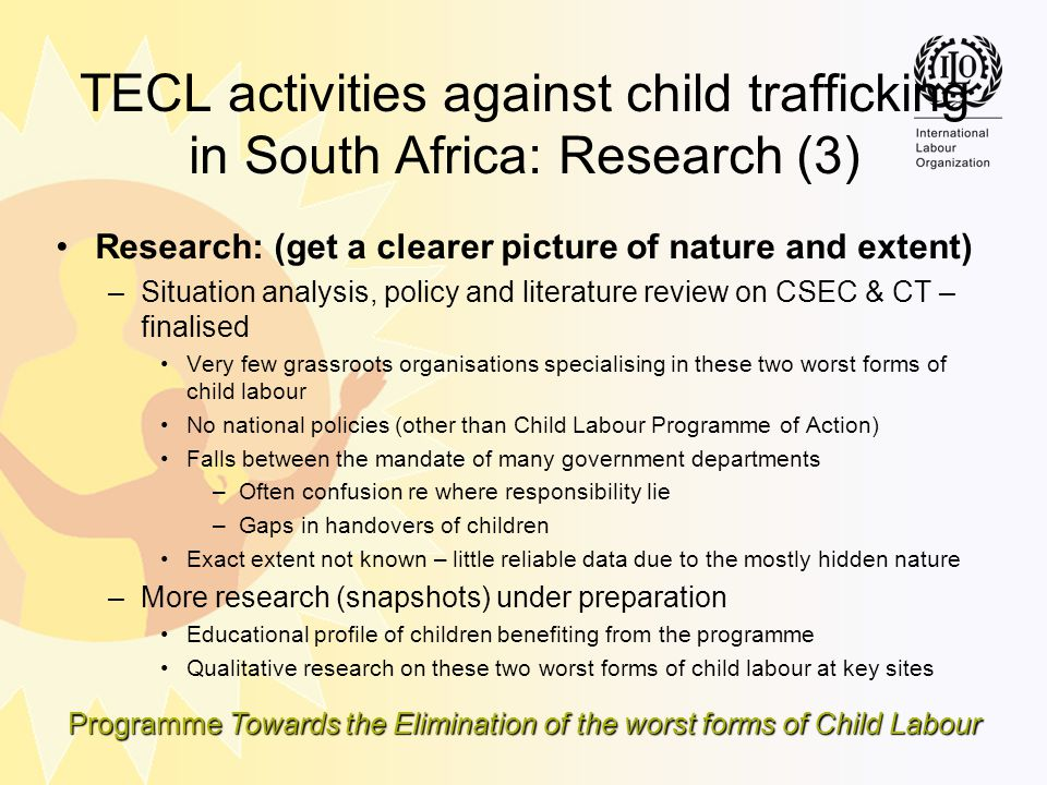 TECL activities against child trafficking in South Africa: Research (3)
