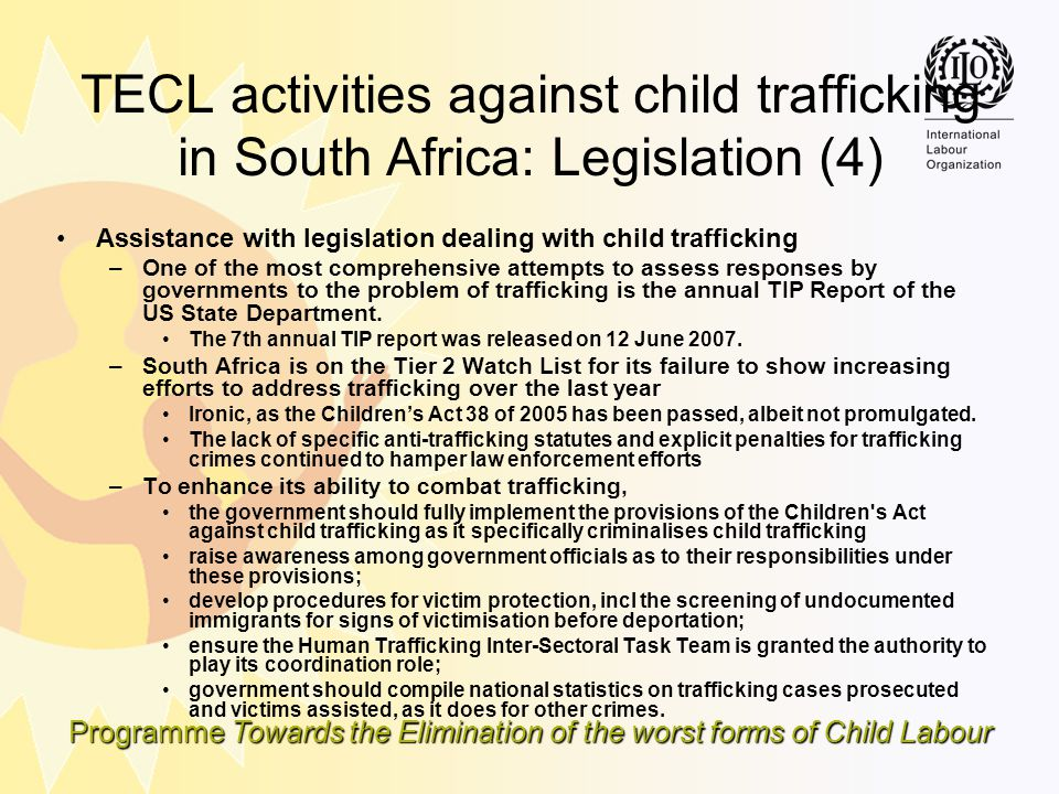TECL activities against child trafficking in South Africa: Legislation (4)