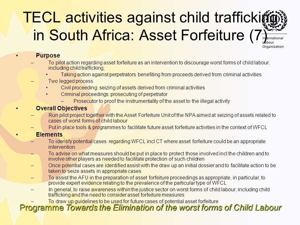 TECL activities against child trafficking in South Africa: Asset Forfeiture (7)