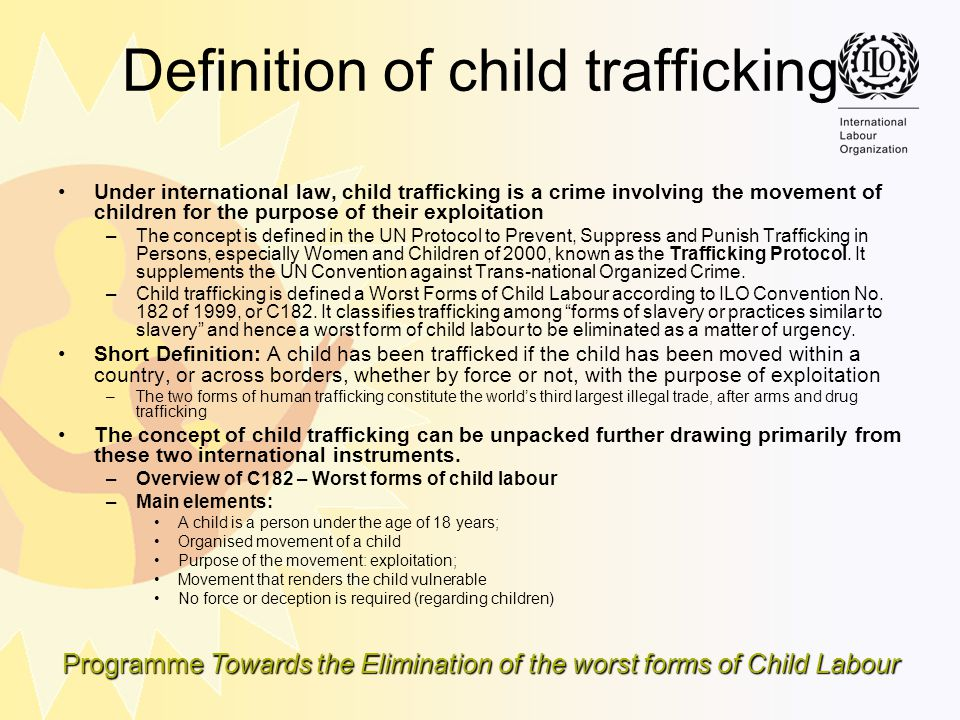 Definition of child trafficking