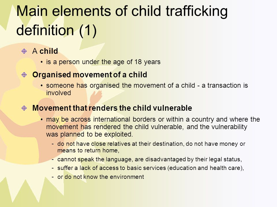 Main elements of child trafficking definition (1)