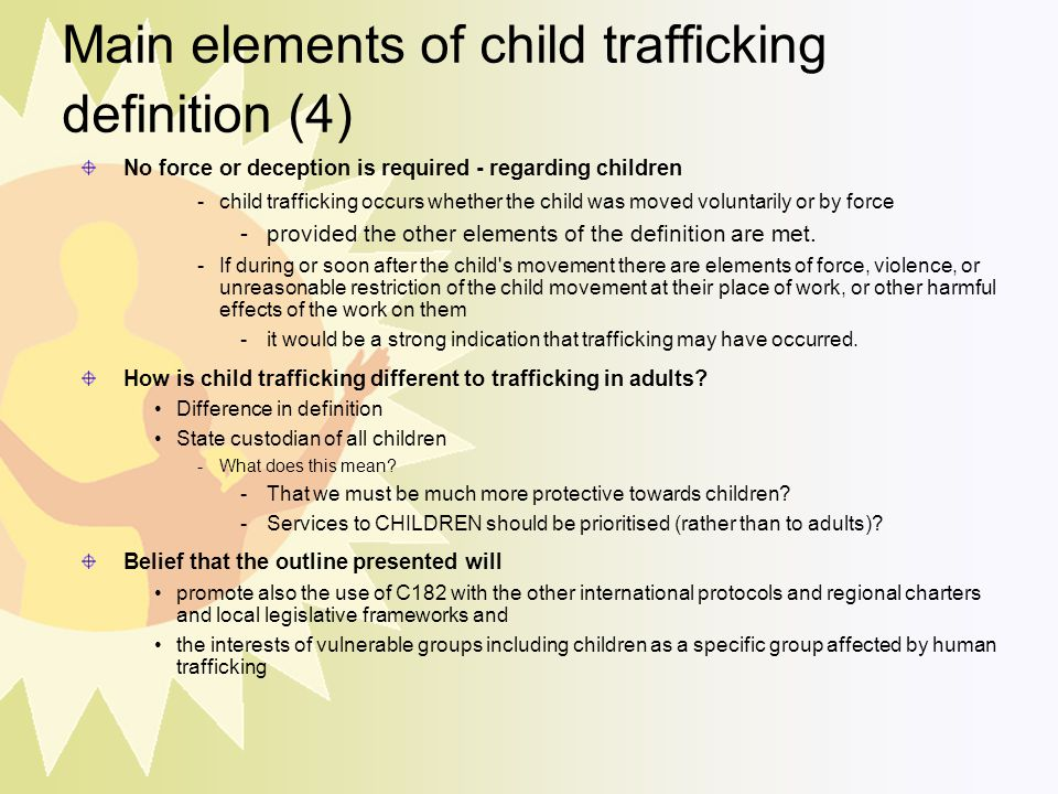 Main elements of child trafficking definition (4)