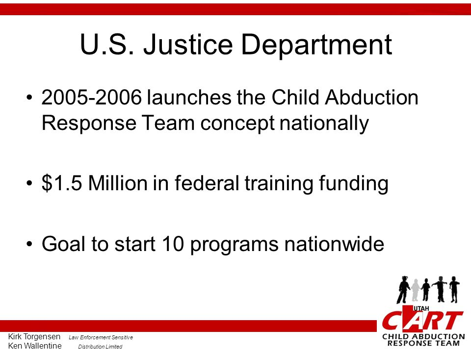 U.S. Justice Department 2005-2006 launches the Child Abduction Response Team concept nationally. $1.5 Million in federal training funding.