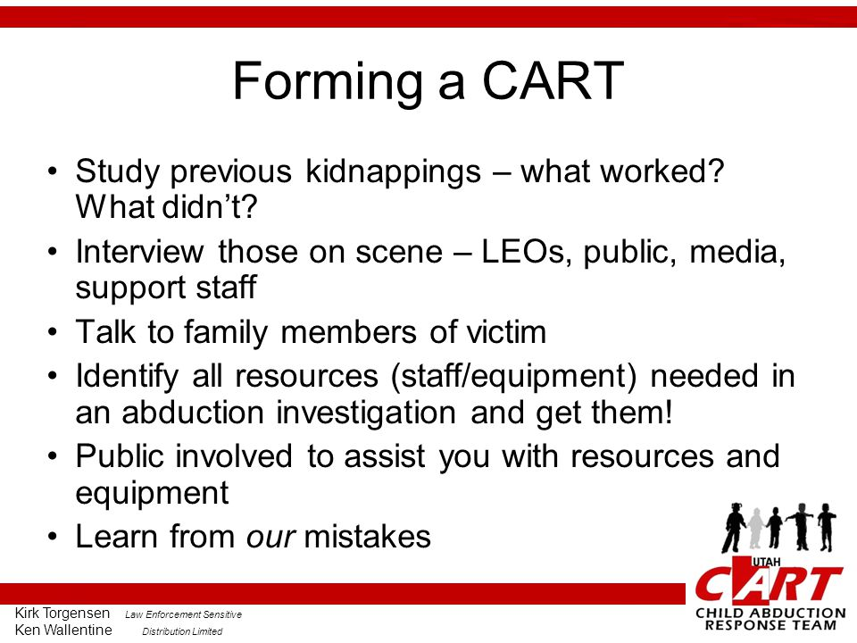Forming a CART Study previous kidnappings – what worked What didn't