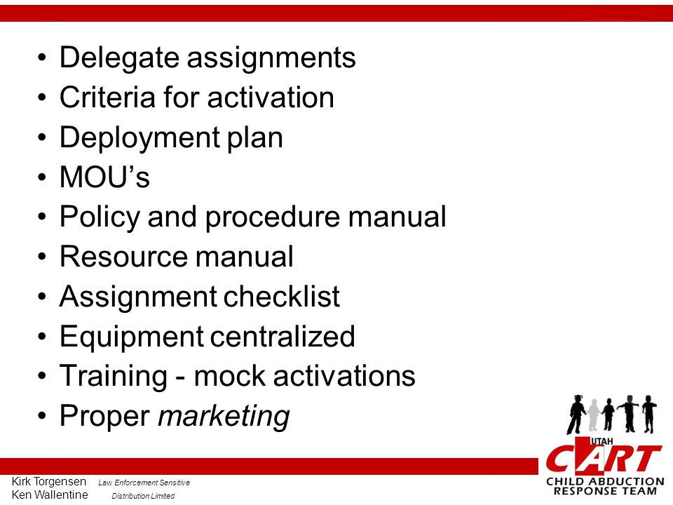 Criteria for activation Deployment plan MOU's