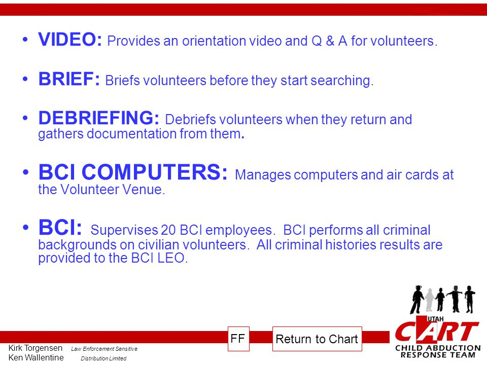 BCI COMPUTERS: Manages computers and air cards at the Volunteer Venue.