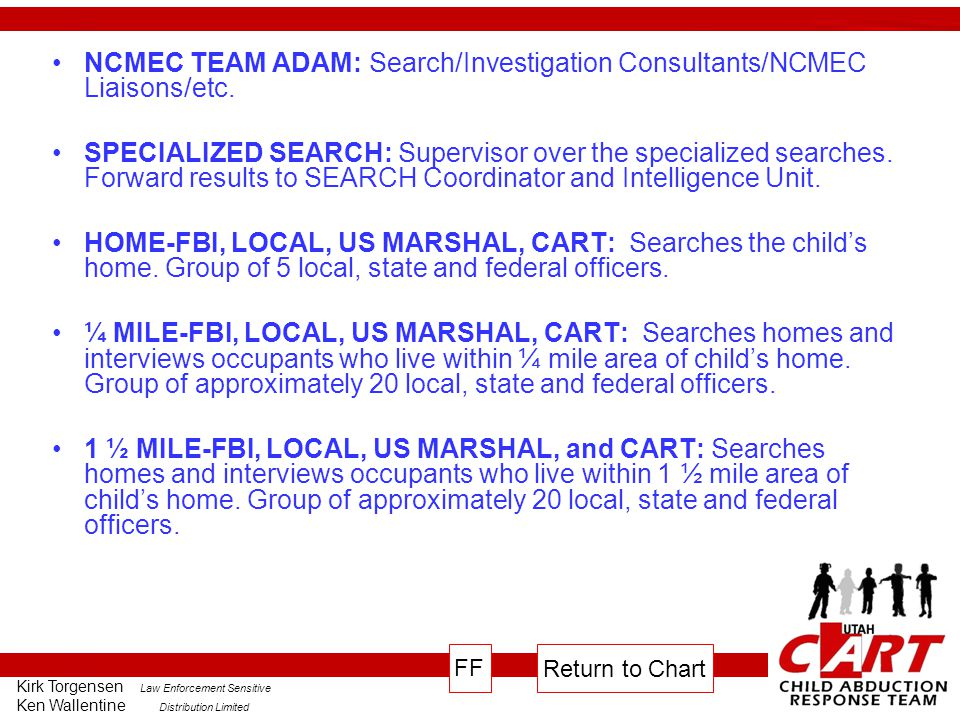 NCMEC TEAM ADAM: Search/Investigation Consultants/NCMEC Liaisons/etc.
