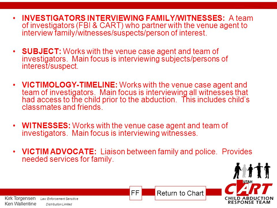 INVESTIGATORS INTERVIEWING FAMILY/WITNESSES: A team of investigators (FBI & CART) who partner with the venue agent to interview family/witnesses/suspects/person of interest.