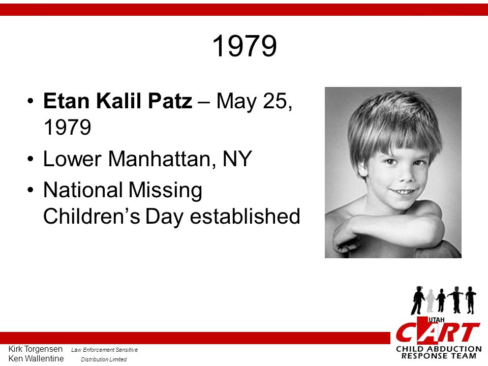 1979 Etan Kalil Patz – May 25, 1979 Lower Manhattan, NY