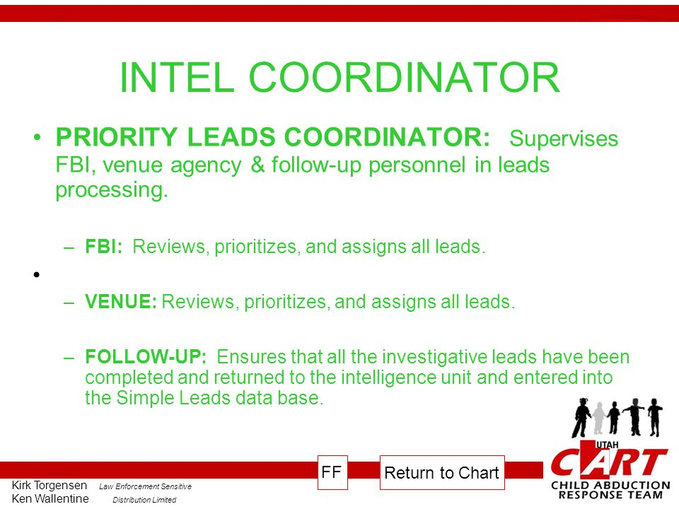 INTEL COORDINATOR PRIORITY LEADS COORDINATOR: Supervises FBI, venue agency & follow-up personnel in leads processing.