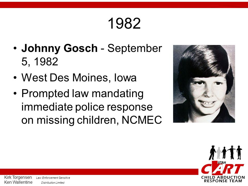 1982 Johnny Gosch - September 5, 1982 West Des Moines, Iowa