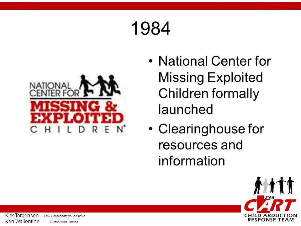 1984 National Center for Missing Exploited Children formally launched