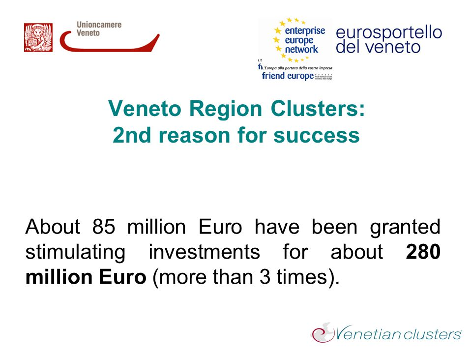 Veneto Region Clusters: 2nd reason for success