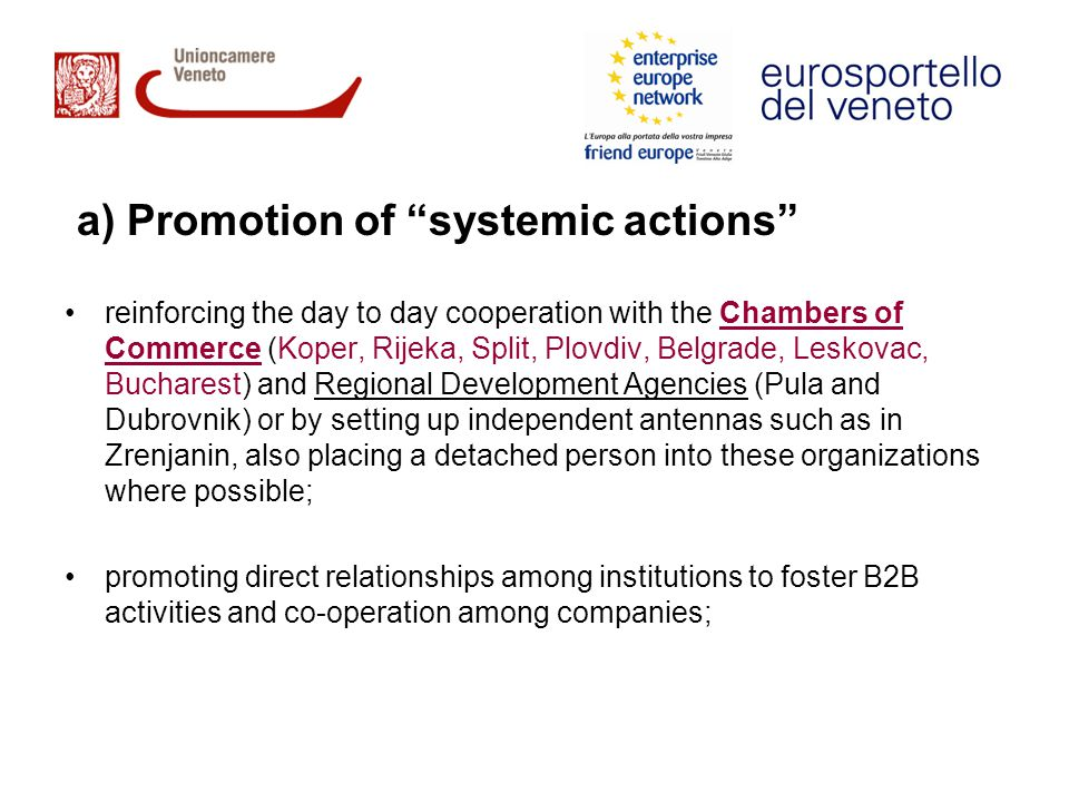 a) Promotion of systemic actions